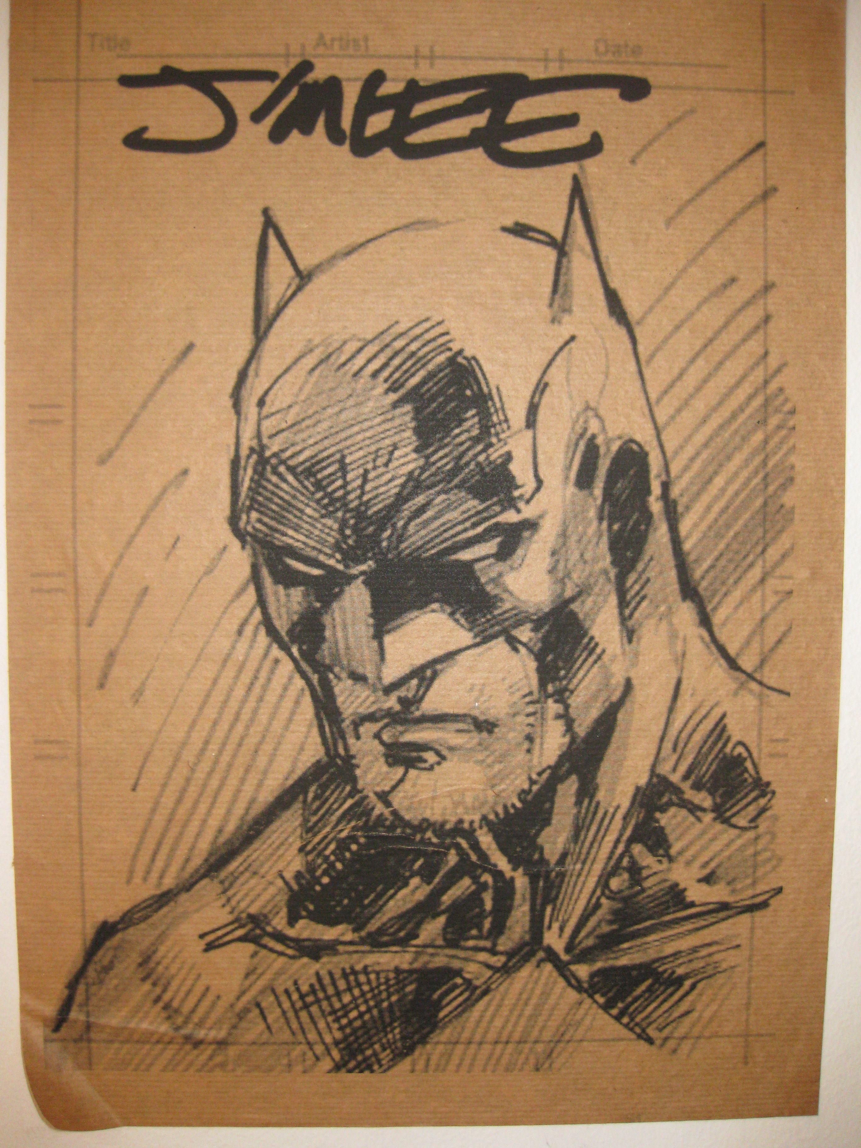 Boceto de Batman por Jim Lee.
