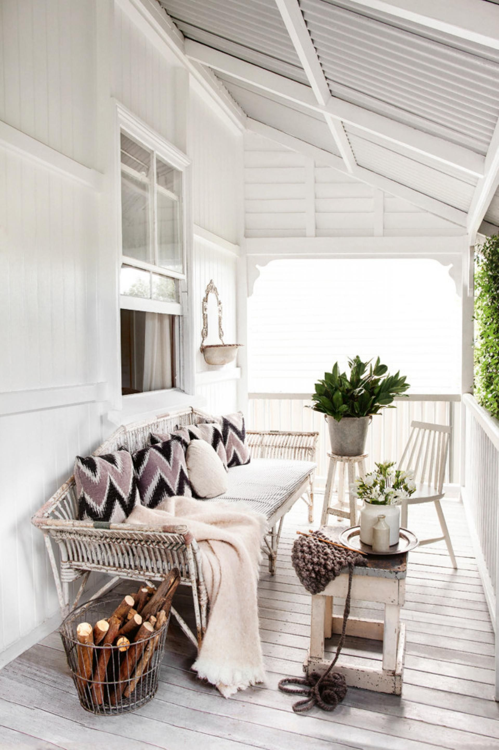 White cottage porch Kara Rosenlundu0027s home