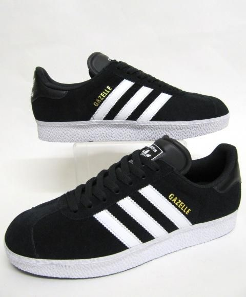 Adidas Gazelle 2 Black/White Leather Trainers