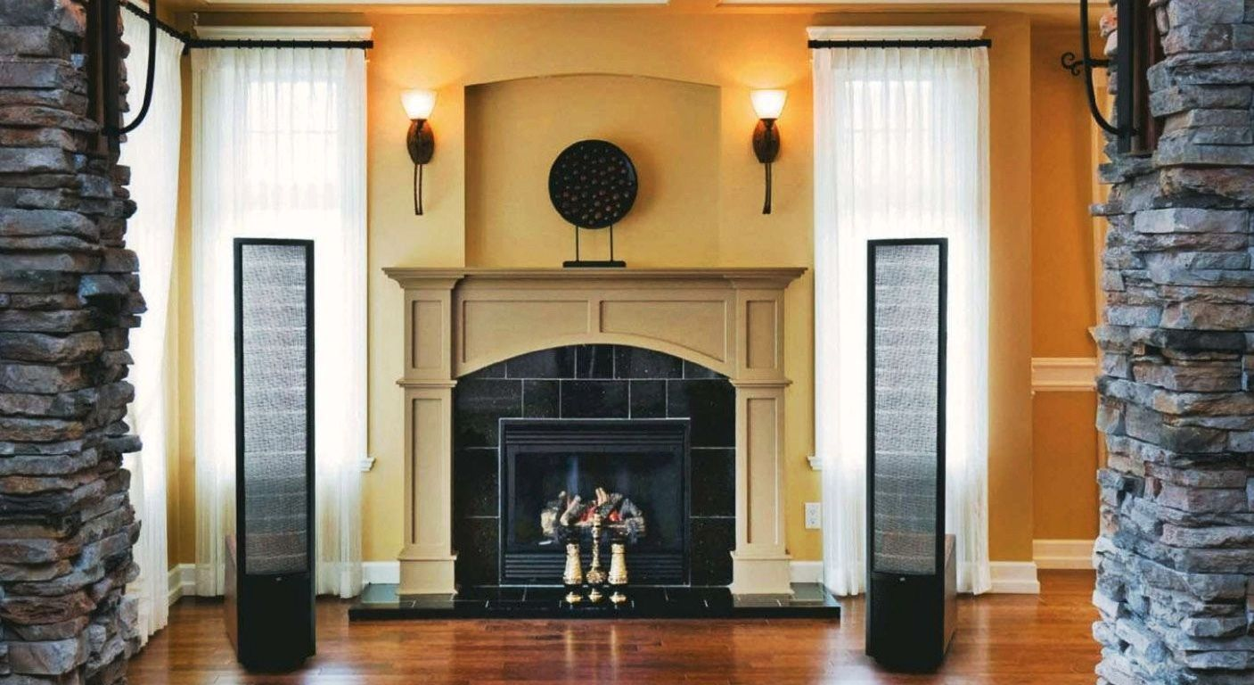 Modern Living Room fireplace with high end speakers design ...
