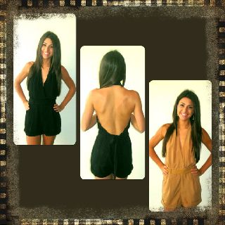 Black and Tan Backless Romper