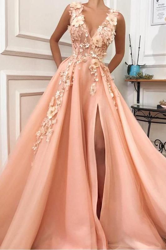 A Line V-neck Long Tulle Split Evening Gown Dresses With Flowers, Long Graduation Dress