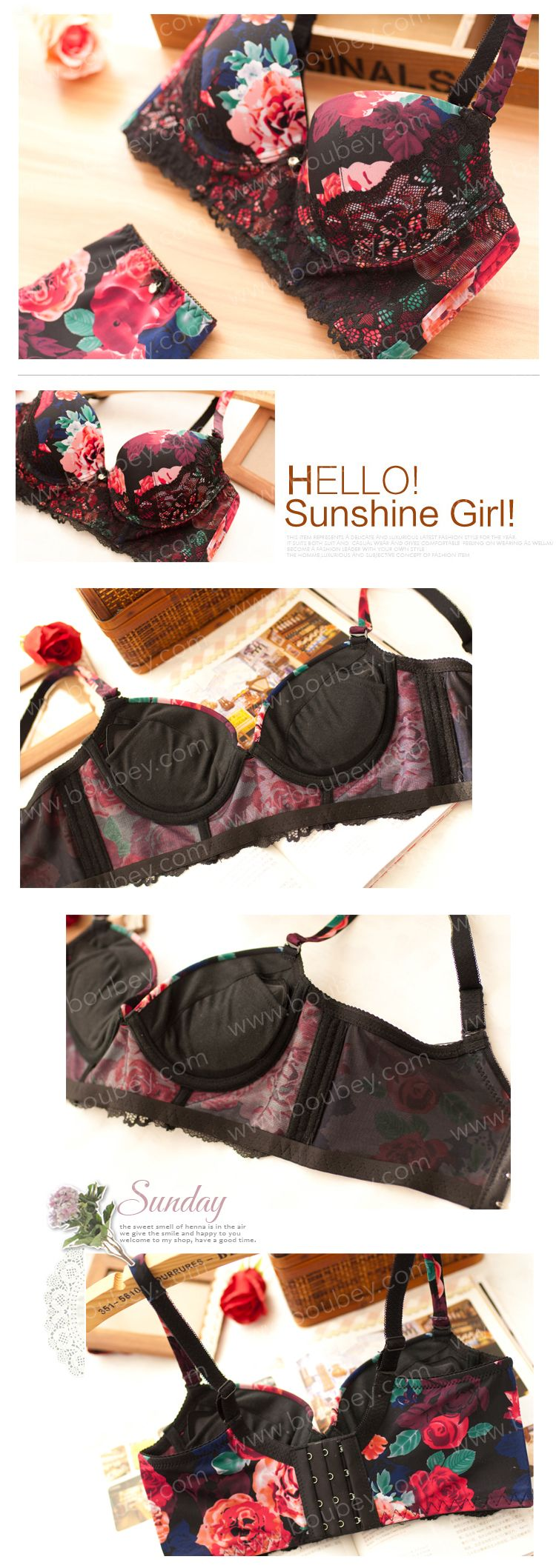 This exotic, floral-themed undergarment has exactly the right combination of sweet, girly cuteness and maybe-I'm-not-so-innocent-after-all raciness. We love how the bra provides just the right amount of cleavage bost, with the under bust accentuated by a lashing of fiercely coloured lace.   #floral #sexy #fancy #ladies #lingerie