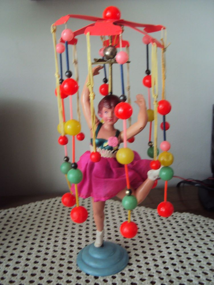 Vintage Celluloid Wind Up Turns Dancing Ballerina Doll 14in