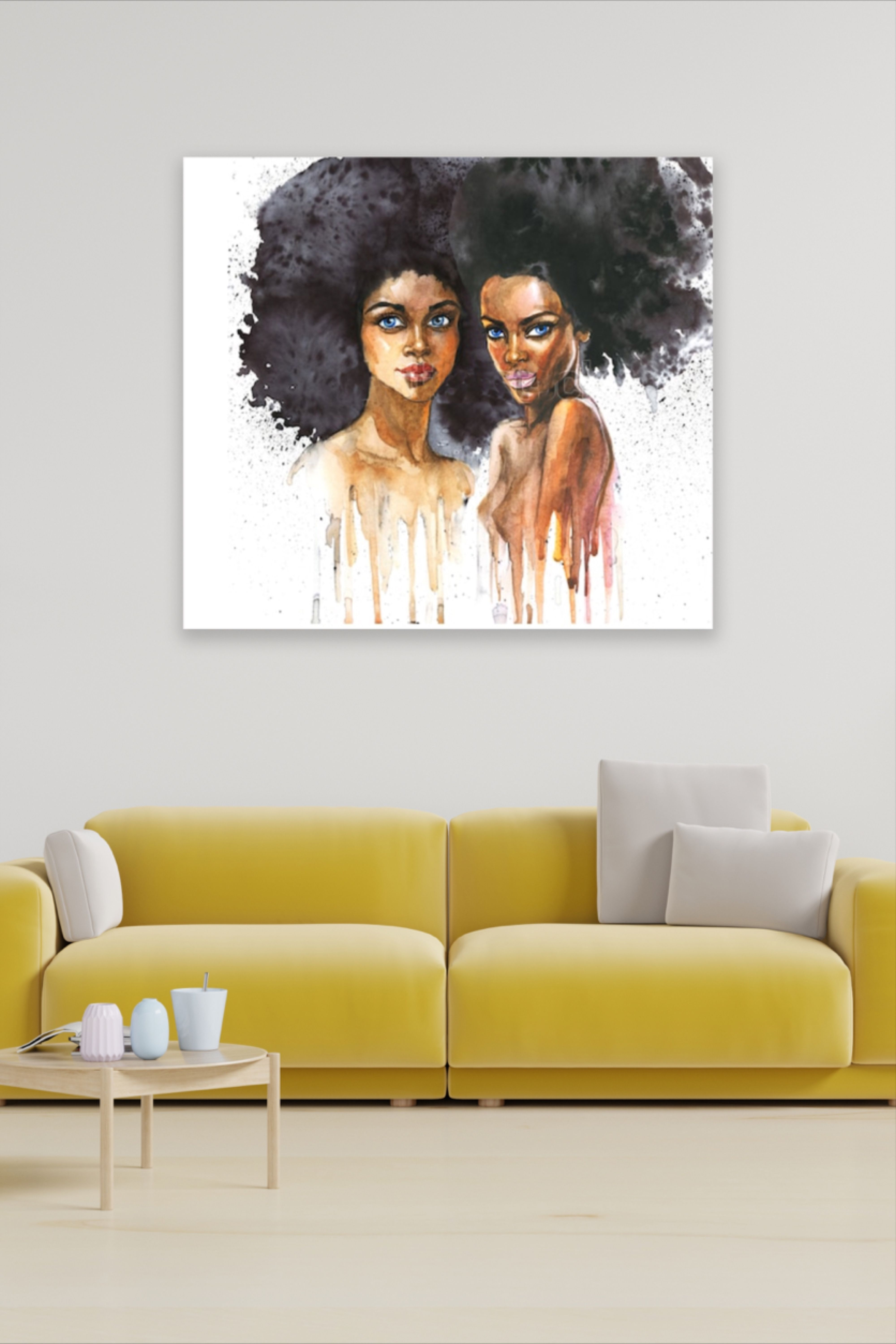 African American Art Hair Salon Decor Canvas Wall Art Glamour Decor Bedroom Decor Art Prints Fashion Painting Inspiring Art Prints Hand Drawn Portraits
