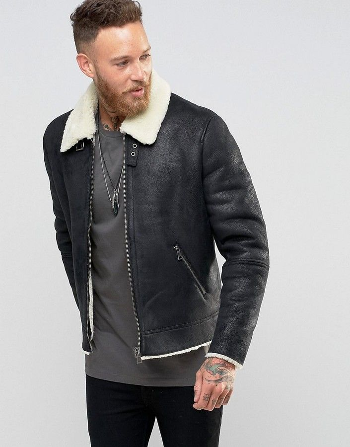 Asos Faux Shearling Jacket In Black | Faux leather jacket men, Faux  shearling jacket, Mens outdoor jackets