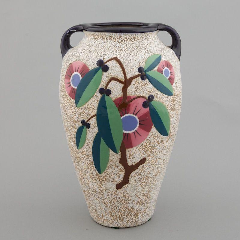 Signed Amphora Jugendstil Czechoslovakia Vase Tall Handled Vase
