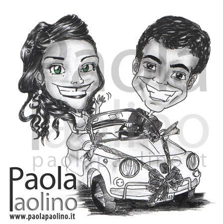 Partecipazioni Matrimonio Con Fiat 500.Home Caricature Matrimonio Illustrazioni