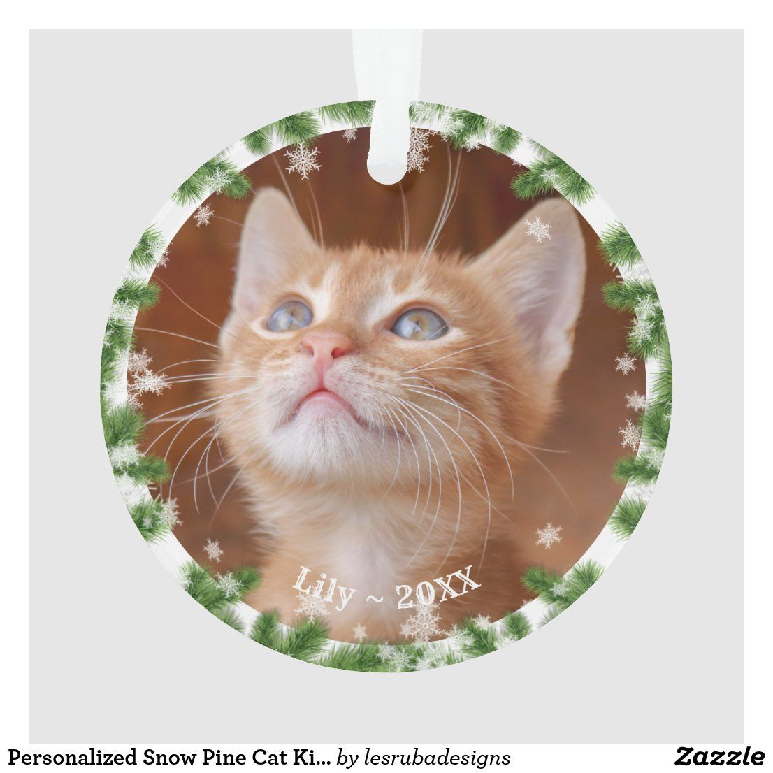 Personalized Snow Pine Cat Kitten Photo Holiday Ornament Zazzle Com In 2020 Kitten Photos Cats And Kittens Kitten