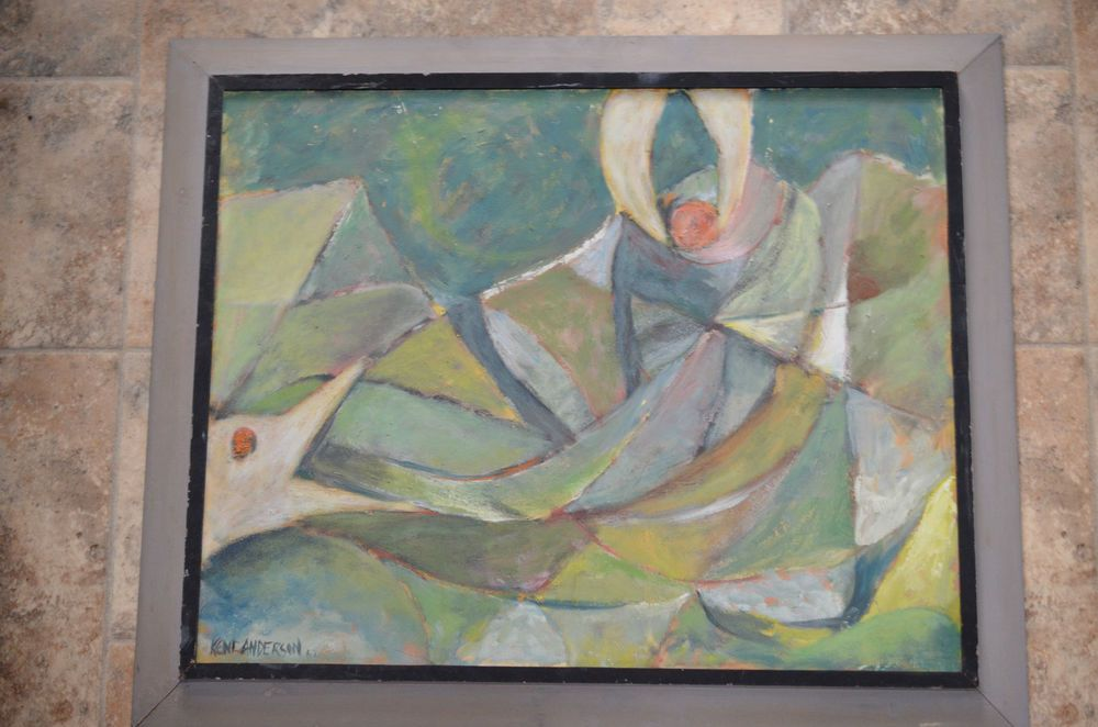 original oil on board signed Kent Anderson listed Wisconsin abstract mid century #Impressionism