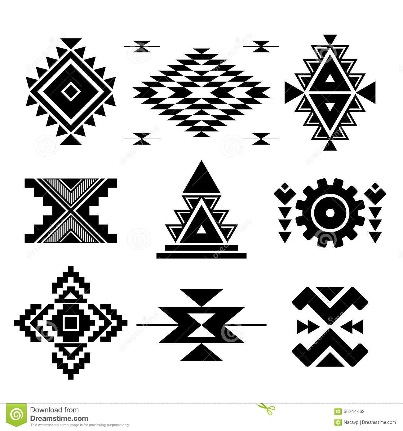Vector abstract geometric elements Native american