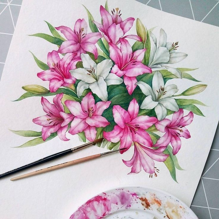 Pin by Ruby Riz on lily flower in watercolour (With images