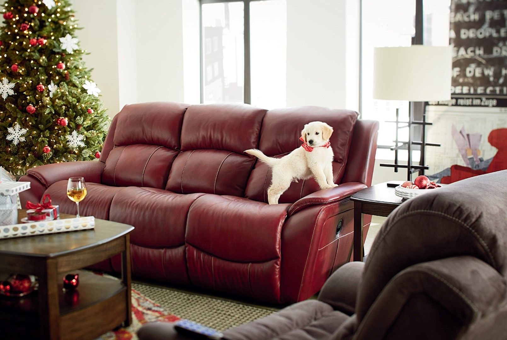 Furniture Lazyboy Sofas With A Cute Little Dog And Also A Christmas Tree And A Wooden Table In Front Of The Sofa Reclining Sofa Lazy Boy Sofas Red Leather Sofa
