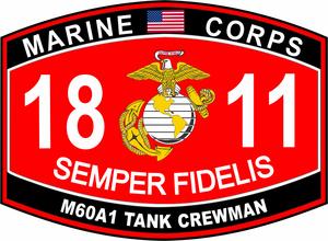 M60a1 Tank Crewman Marine Corps Mos 1811 U S M C Military Decal Usmc Decal Marine Corps Usmc