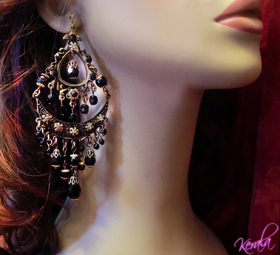Large black glass chandelier earrings exotic bronze bohemian large black glass chandelier earrings exotic bronze bohemian chandelier earrings ornate indian floral extravagant mto arubaitofo Images