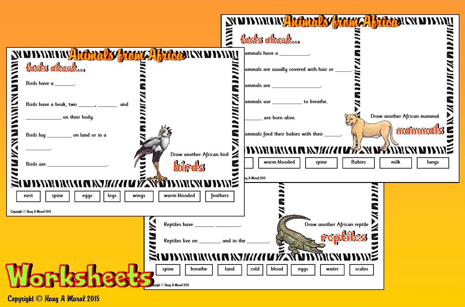 African Safari Worksheets Hang A Mural Writing