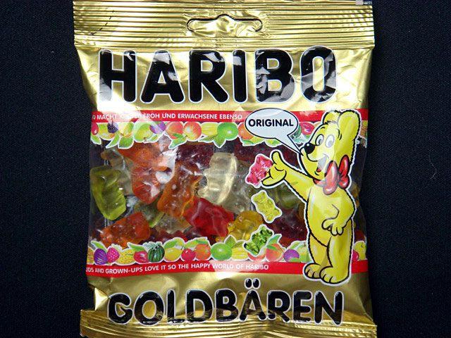 【ハリボー ゴールドベア】小さなクマの形をしたグミキャンディは、ハリボーの基本。ハリボー社の歴史はこのゴールドベアから始まりました。パイナップル、レモン、オレンジ、ラズベリー、ストロベリーの5種類の味が入っています。
