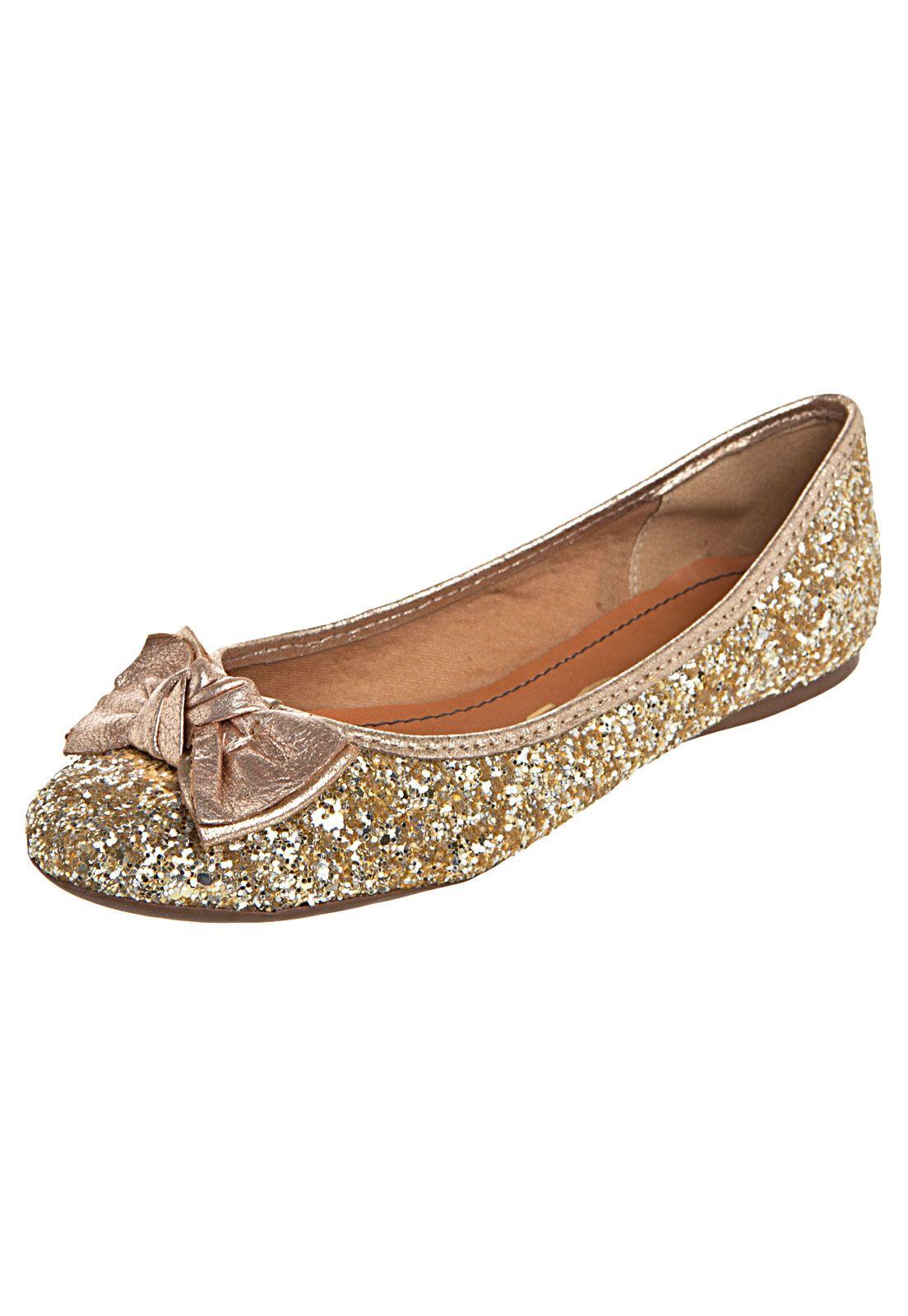 b089bcbc65 Sapatilha Santa Lolla Tecido Diamante Dourado - Compre Agora ...