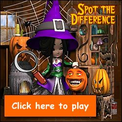 Spot the Difference Halloween Game - Find the differences between ...