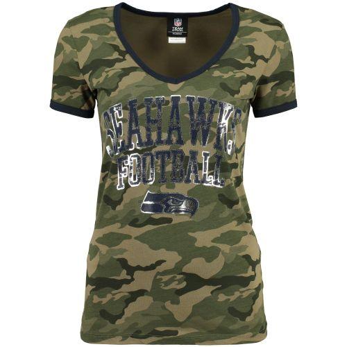 f1051d86a Seattle Seahawks 5th   Ocean by New Era Women s V-Neck T-Shirt - Camo