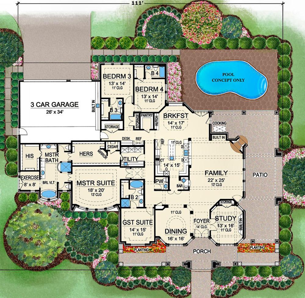 House Plan 5445 00315 European Plan 4 536 Square Feet 4