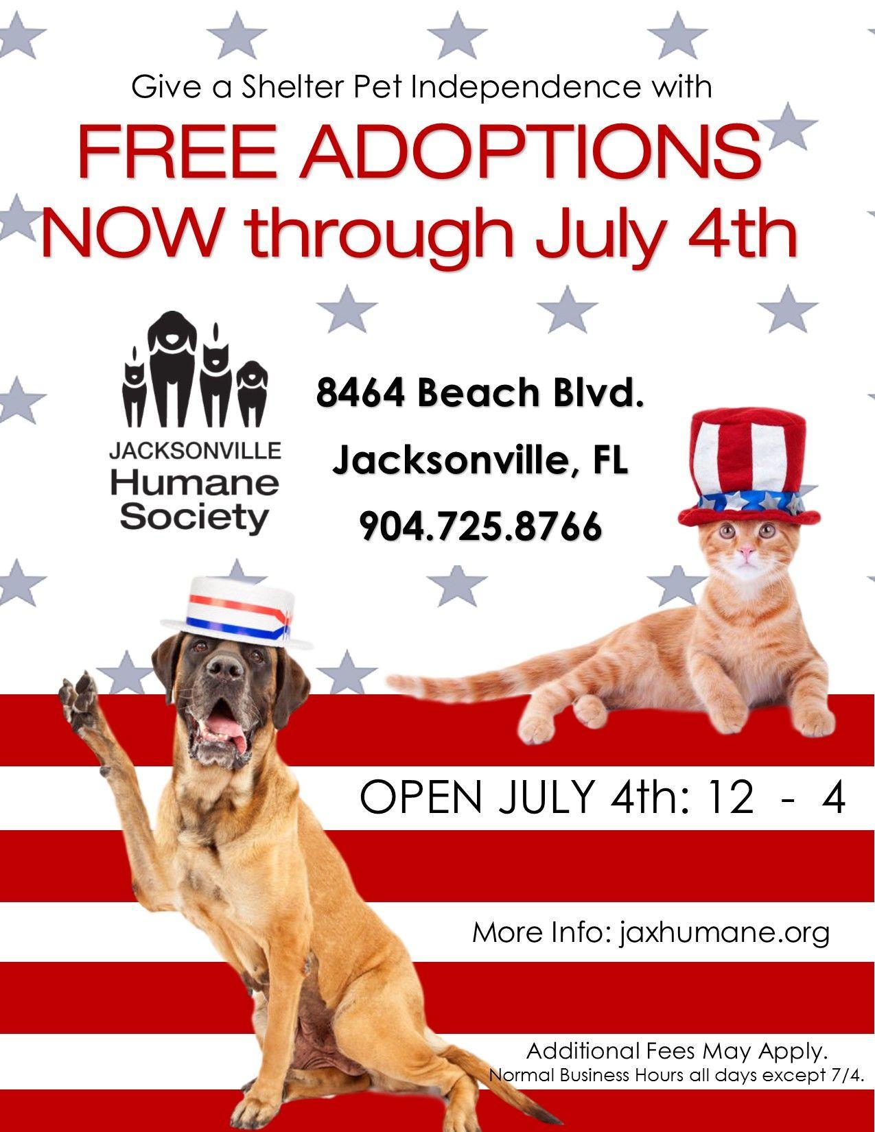 Jacksonville Humane Society FREE ADOPTIONS NOW thru JULY
