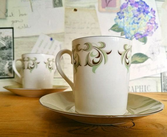 Bone China Cup and Saucer Pair, 2 Two China Teacups Tea Cups