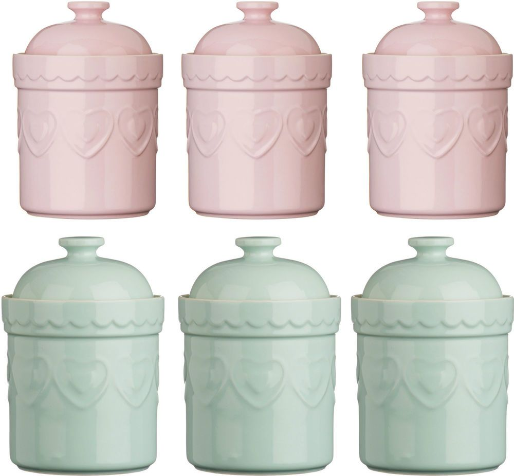 gorgeous shabby chic tea coffee sugar jars next co uk kitchen details about storage jars tea coffee sugar canisters pastel stoneware heart design pink green
