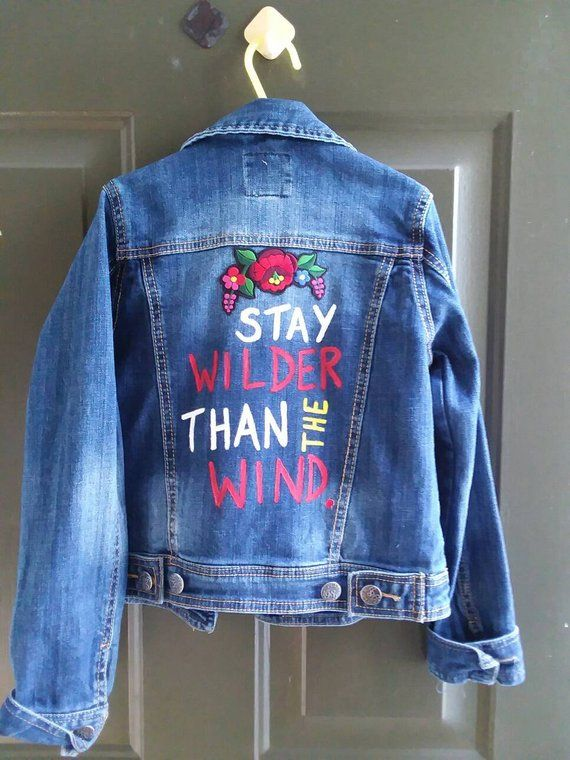 82f7e85001 UPCYCLED custom Denim jacket in a girl s size 7 8 hand painted with fabric  paint and embellished wit