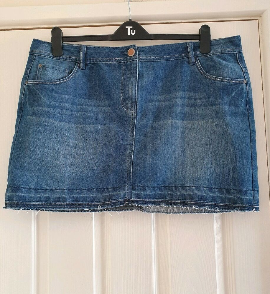 new arrival high quality guarantee sneakers for cheap Ladies Blue Denim Mini Skirt From George at Asda Size 20 ...