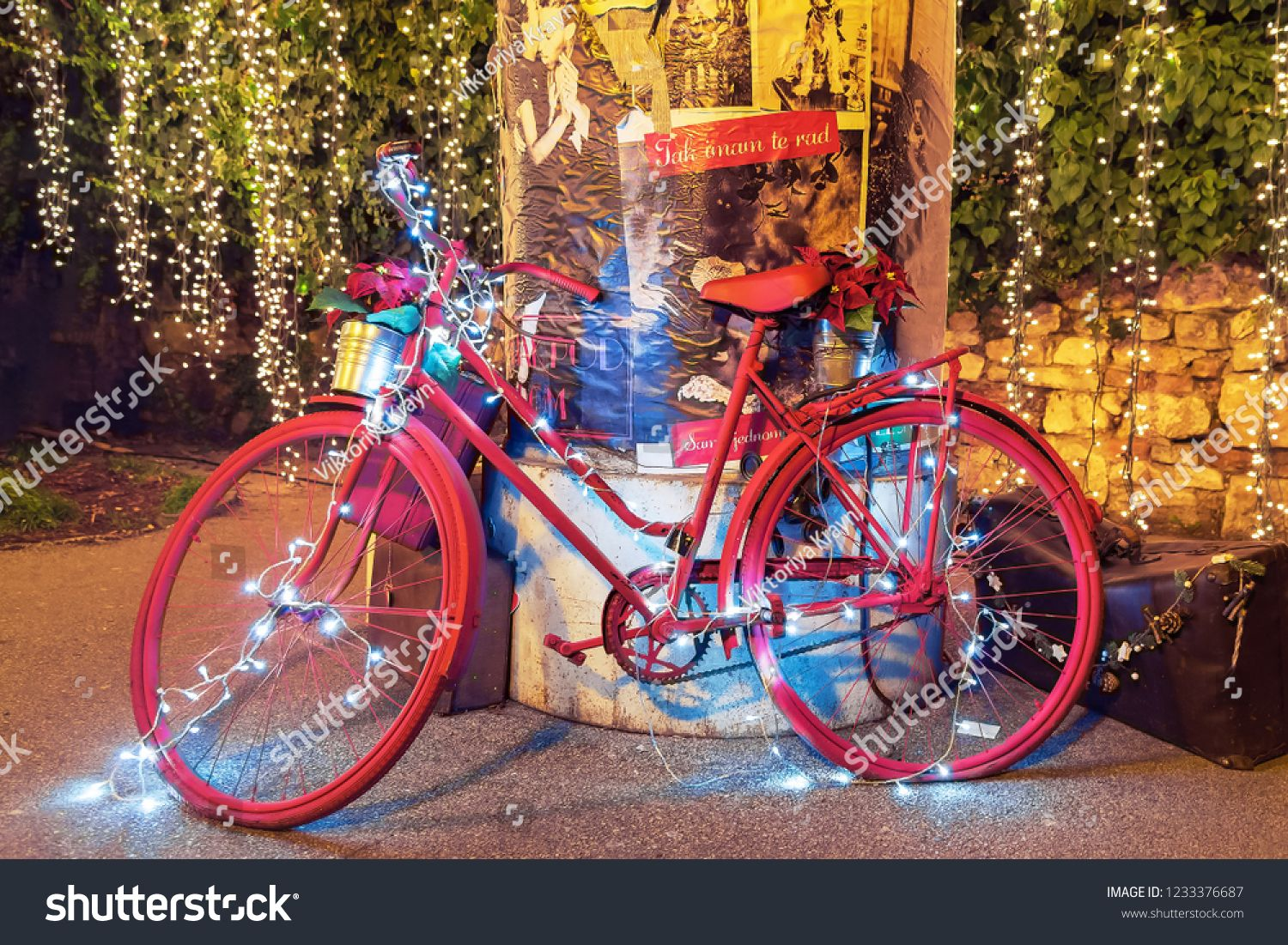 Zagreb U002f Croatia 26 December 2017 Bicycle Decorated With Christmas Lights On The St In 2020 Christmas Lights Decorating With Christmas Lights Vintage Christmas