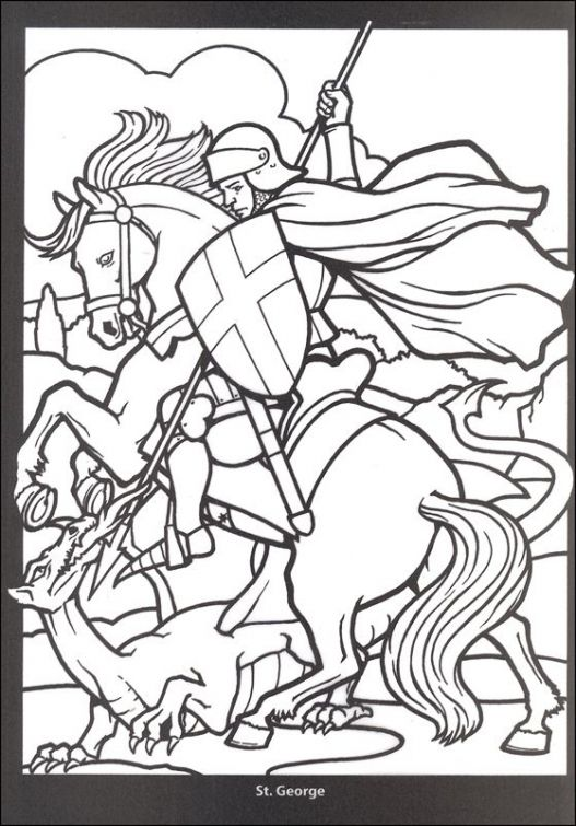 Free printable coloring page of a crusade knight Stained Glass