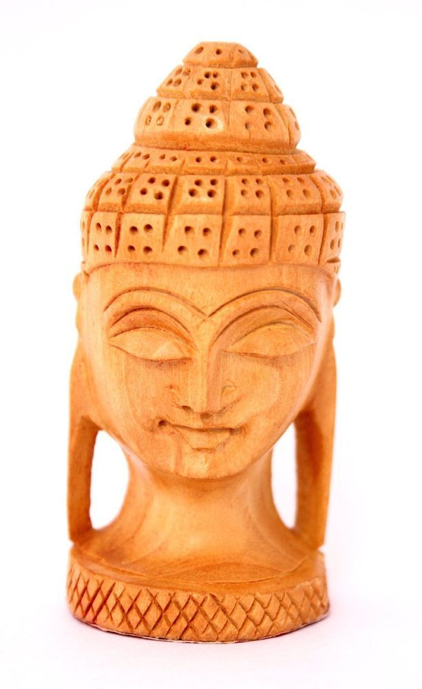 Hand Carved Wood Buddha AUS Head Wooden Statue
