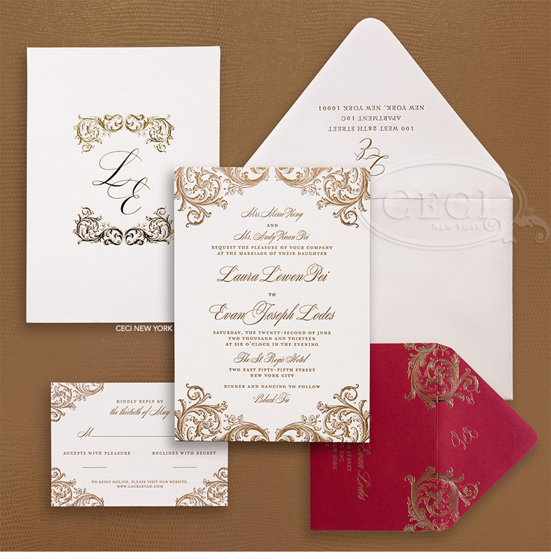 not on the high street winter wedding invitations%0A Luxury Wedding Invitations by Ceci New York