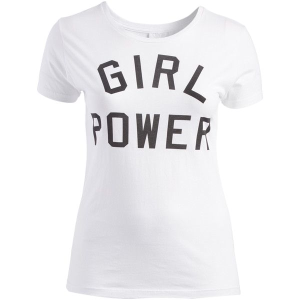 SOB Clothing White 'Girl Power' Crewneck Tee ($8.99) ❤ liked on Polyvore featuring tops, t-shirts, crew neck t shirt, crew-neck tee, long length t shirts, white tee and crew neck tee