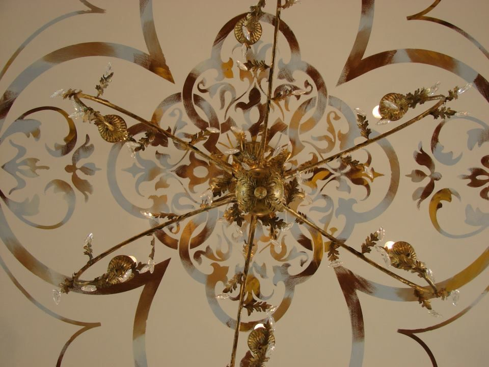 Ceiling commission with Modern Masters metallic paint accents by
