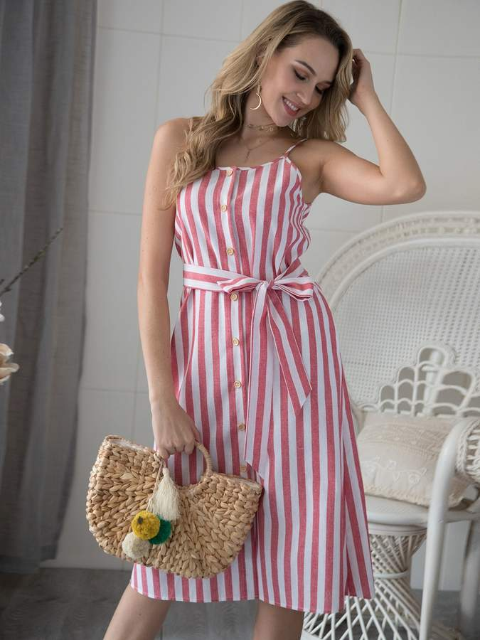 171a54f8cb Shein Striped Button Through Belted Cami Dress in 2019 | Products ...