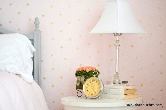 A DIY blush and gold stenciled little girl's room using the Little Diamonds Allover pattern.