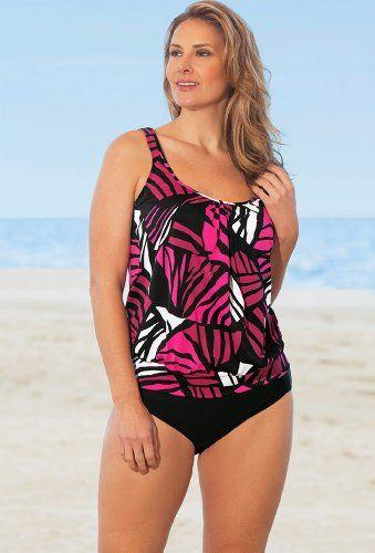 5d1661aa77 Penbrooke Pink Lion Queen Plus Size Blouson Tankini Plus Size Swimsuit -  Pink - Size 18