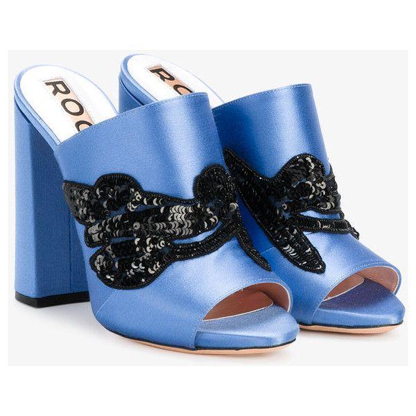 Rochas Sequin Mules Embelli - Bleu WtEQAODNrm