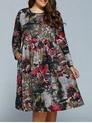 Plus Size Flower Print Dress