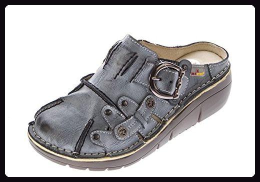 b148960a565d9 Damen Leder Clogs TMA Schuhe Schwarz Used Look Slipper echt Leder ...