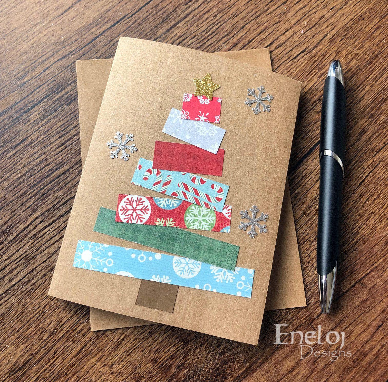 christmas card  handmade note card  blank card