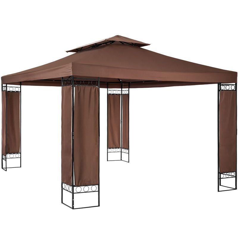 Tonnelle De Jardin 3 9 M X 2 9 M Autoportee Structure En Metal Marron Tectake Outdoor Structures Gazebo Outdoor