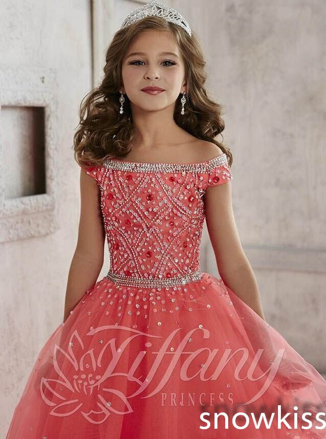 Ball Gown Girls Kids Pageant Dress Crystal Beading Formal Gown Party Princess