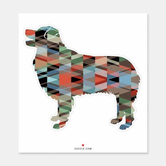 Australian Shepherd Geometric Pattern Silhouette Sticker Zazzle