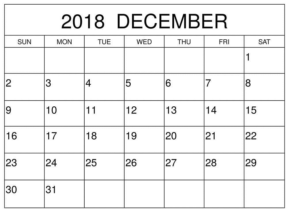 December 2018 Calendar Printable Word 101 December 2018 Calendar