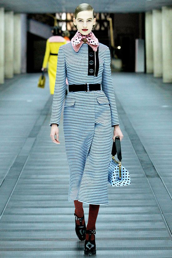 Striped Coat-Dress I Striped #Print #Fashion #Trend for Fall Winter 2013   Miu Miu   #fall2013 #trendy #prints