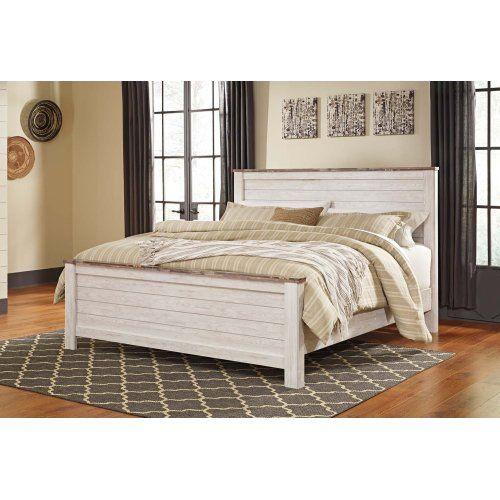 Best Willowton White Wash 3 Piece Bed Set King Farmhouse 640 x 480
