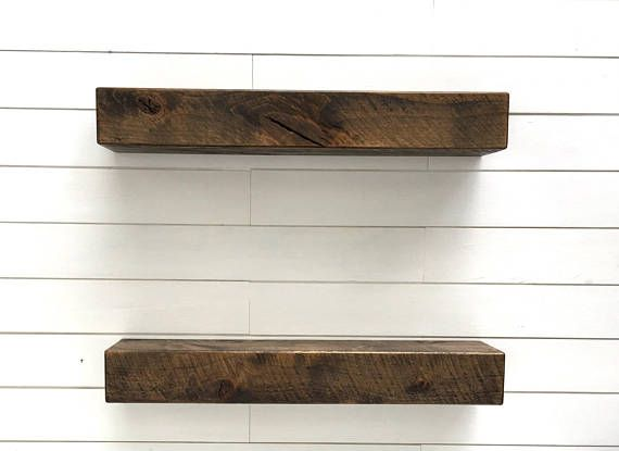Beautiful Sets Of Two Modern Rustic Floating Shelves In Sizes 12 Inch 18 24 And 36 Handmade By Us Using Circle Sawn Alder